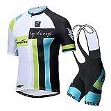【サンティック】Santic メンズ サイクルジャージ 半袖 上下セット サイクルウェア ビブ選択可 夏用 吸汗速乾 XL