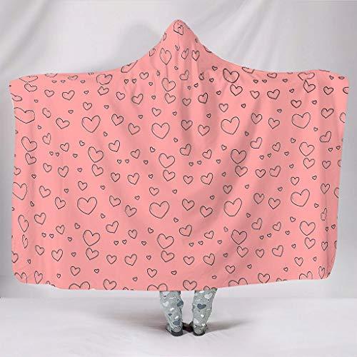 Zhcon Grafik Herzform Theme Wearable Tapisserie Hooded Throw Wrap Grafik Bequemes Soft-Mantel Schlafdecke Winter Werfen Decke Für Erwachsene Und Kinder White 130x150cm