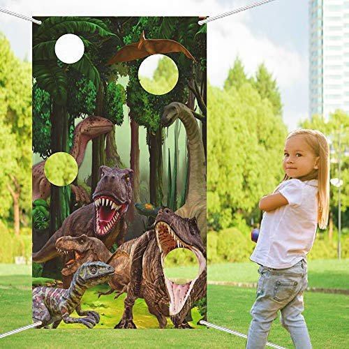LaVenty Roar Dinosaur Toss Games Banner Dino Party Game Dinosaur Birthday Party Supplies for Kids Boys Birthday Jurassic World Family Gathering Party Supplies
