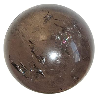 Satin Crystals Smoky Quartz Sphere Crystal Healing Ball Rainbow Positive Energy Stone of Hope & Protection, Clear Gazing Brazilian Gemstone P05