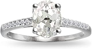 Sterling Silver White Topaz Oval Crown Ring