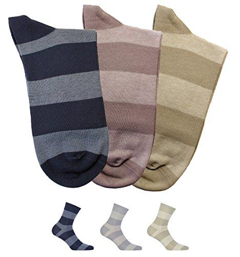 Gatta Perfect Men Casual Soft Cotton Socken V1-3er Pack - farbig bunt gestreift-gemusterte elegante Männer Herrensocken - Größe 45-47