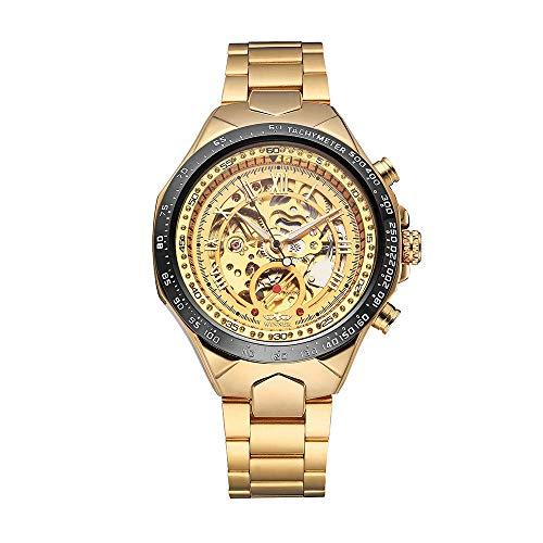de alta qualidade esqueleto semi automático homens mecânicos relógio grande dial mão-enrolamento homens de negócios relógio de pulso