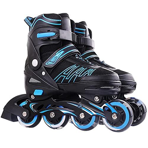 Fitness Patines En Línea Patines para Hombres Y Mujer, Roller Skatescon Ruedas Iluminadas Tamaño De Zapato Ajustable De 4 Velocidades, para Adultos Infantiles Y Adolescentes (Negro)