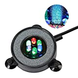 NICREW Multi-Colored LED Aquarium Bubbling Stone Disk, Round Fish Tank Bubbler with Auto Color Changing LEDs