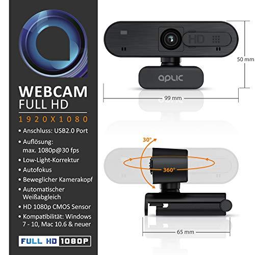 CSL - Webcam Full HD 1080p mit Mikrofon - 2k 1920x1080P – Abdeckung - Privacy Shutter Sichtschutz – Autofokus - Low Light Korrektur - für PC MAC - OBS, Zoom, Mixer, Skype, FaceTime - Laptop Notebook