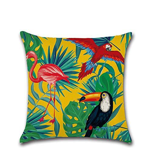 SunEast - Copricuscino decorativo con foglie verdi tropicali e fiori di palma, per casa, divano, letto, soggiorno, auto, 45 x 45 cm, stile 1, Stile 32., 45*45cm