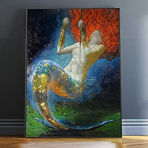 QWESFX Sirena Pintura al óleo Arte de la pared Fantasía Vintage Girl Picture Impresión en lienzo para sala de estar Sala de estar Adorno Arte (Imprimir sin marco) B 40x60CM