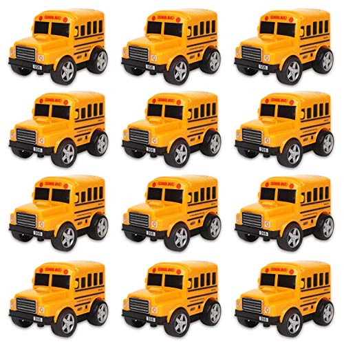 12 Pack in Box Chubby School Bus Model Toys - 4 inches Classic Long Nose Friction Powered 360 Rotation Vehicles - Ideal Gift, Party Favors for Kids (1 Dozen)