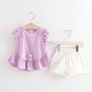 TZOU Girl Children Kids Round Neckline Lace Tops+Solid Color Shorts Two Piece Suit Outfit Purple 80cm