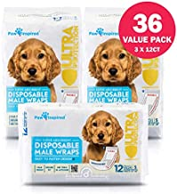 Paw Inspired 36ct Disposable Male Dog Wraps, Belly Band for Dogs | Disposable Dog Diapers Male | Belly Bands for Male Dogs | Excitable Urination, Incontinence, or Male Marking