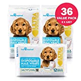 Paw Inspired 36ct Disposable Male Dog Wraps, Belly Band for Dogs   Disposable Dog Diapers Male   Belly Bands for Male Dogs   Excitable Urination, Incontinence, or Male Marking