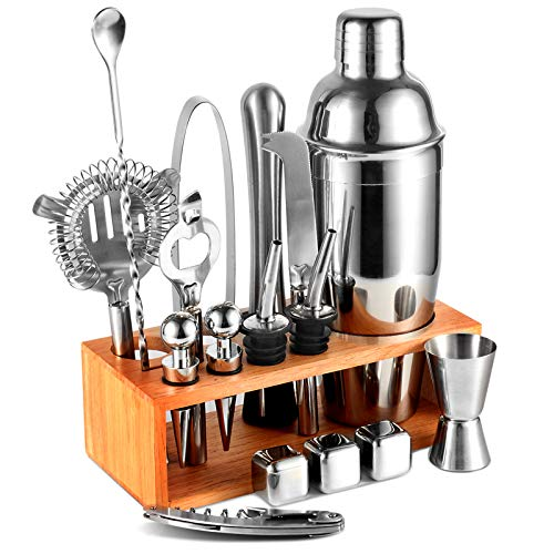 Cocktail Shaker Set 17pcs Bartender Kit with Stand,Professional Stainless Steel Bar Tool Set Bartending Kit Perfect for Drink Mixing Experience