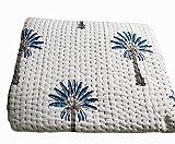 silkroude Indischer Kantha-Druck Steppdecke Vintage Handblock Palme Gedruckt Kantha Steppdecke Baumwolle Tagesdecke Hergestellt (Blau)