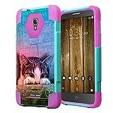Alcatel Fierce 4 Case, Alcatel Allura Case, Capsule-Case Hybrid Fusion Dual Layer Combat Kickstand Case (Teal Green & Pink) for Alcatel Fierce 4 / Allura/Pop 4 Plus - (Kitty Cat)