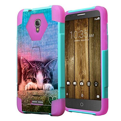 Alcatel Fierce 4 Case, Alcatel Allura Case, Capsule-Case Hybrid Fusion Dual Layer Combat Kickstand Case (Teal Green & Pink) for Alcatel Fierce 4   Allura Pop 4 Plus - (Kitty Cat)