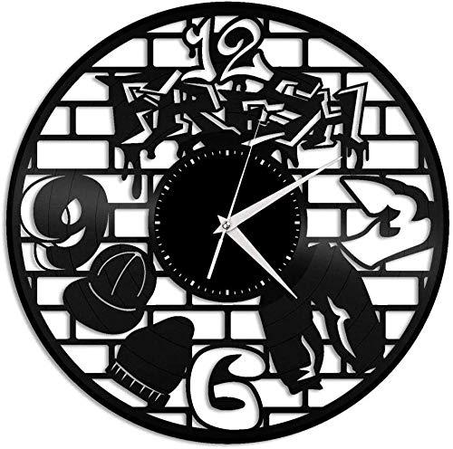 hxjie Reloj de Pared de Vinilo Reloj de Disco de Vinilo de 12 Pulgadas Reloj de decoración Creativa Retro de música Hip Hop-Sin luz LED