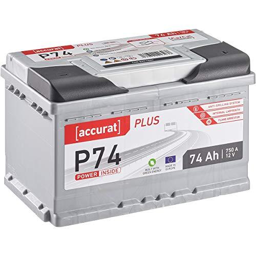 Preisvergleich Produktbild Accurat Plus Serie 12V 74Ah Auto Batterie 750A Starterbatterie Blei-Säure Autobatterie KFZ Batterie (wartungsfrei)