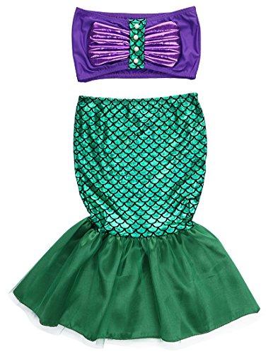 2pcs Baby Girls Kids Mermaid Tails Costume Swimwear Bikinis Swimsuit Bathing Outfits Dress (2-3 Years, Green)
