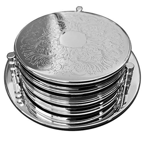 silberkanne - Sottobottiglia con 6 sottobicchieri, Modello Classic, 7 pz, Placcato Argento, Lavorazione di qualità
