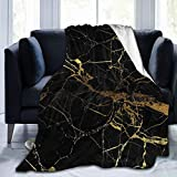 Throw Blanket Black and Gold Marble Texture Warm Fluffy Plush Comfy Microfiber Blanket for Couch Sofa Bed Blankets 50'X40' Office Blankets Decorative Soft Faux Fur Blanket for Kids and Adults