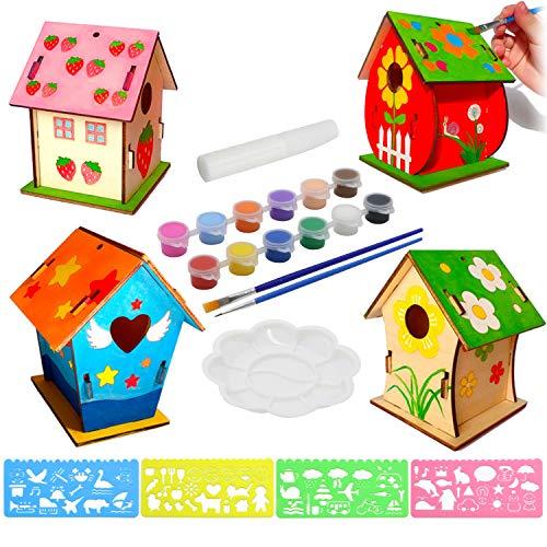 KUWAN Vogelhaus Bausatz Kinder , 4 Stück DIY vogelhaus zum bemalen Kit Vogelhaus Pigment Bemalen Unvollendete Set, Bauen und malen Sie Birdhouse Wooden Arts für Kinder