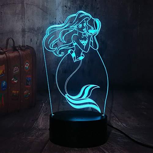 La Sirenita Princesa 7 Cambio de Color 3D Led Luz de Noche de Bebé Lámpara de Escritorio Decoración del Hogar Fiesta Juguetes de Niños Regalo del Día de los Niños