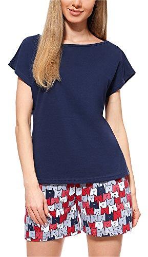 Merry Style Pyjama Ensemble Haut et Bas V?tement d'Intérieur Femme MS10-178 (Bleu Foncé/Chat, L)