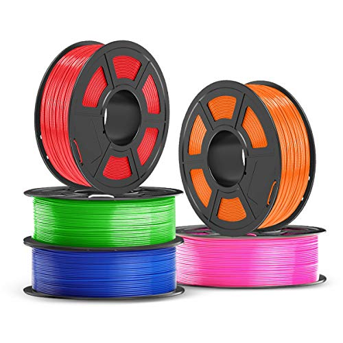 PETG Filament 1.75mm, JAYO PETG 3D Printer Filament 5kg Spool (11 lbs), Accuracy +/- 0.02 mm, Stable Output Fit Most FDM Printers, PETG Red+Green+Blue+Orange+Pink