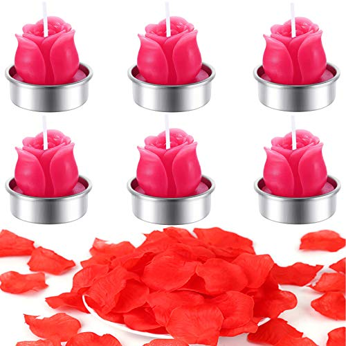 Kalolary 6PCS Valentine Candles Rose Tealight Candles, Handmade Romantic Candles with Artificial Rose Petals for Candlelight Dinner Valentine's Day Wedding Birthday Christmas Party Home Decoration