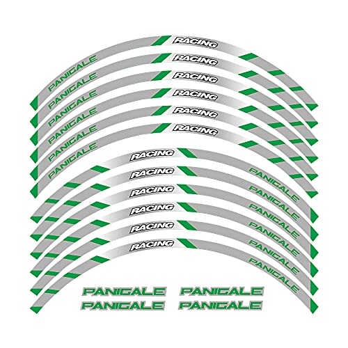 Elegantes Adhesivos Impermeables para Llantas, adecuados para Llantas con un diámetro de 17 Pulgadas, Hermoso Papel para decoración de Llantas For Ducati Panigale All Years (2B-Verde)