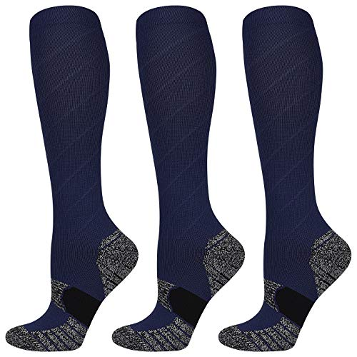 PAPLUS 3 Pairs Graduated Compression Socks for Women amp Men 2030 mmHg