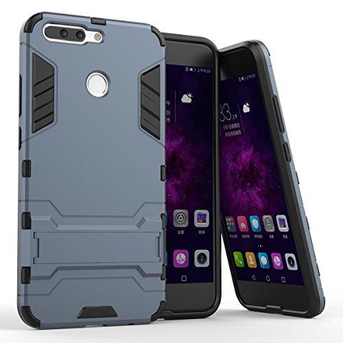 Bllosem Huawei Honor 8 Pro Hülle,Honor V9 Hülle, Hybride Dual-Layer PC+TPU Kompletter Schutz Standfunktion Tasche für Huawei Honor 8 Pro Schwarz Blau