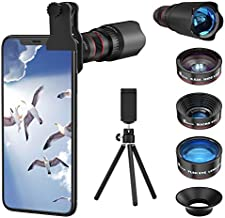 Selvim Phone Camera Lens Phone Lens Kit 4 in 1, 22X Telephoto Lens, 235° Fisheye Lens, 0.62X Wide Angle Lens, 25X Macro Lens, Compatible with iOS iPhone 10 8 7 6 6s Plus X XS XR Android Samsung -Black