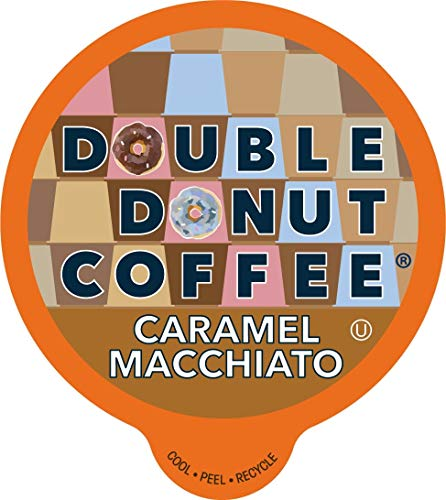 Double Donut Flavored Coffee Pods, Caramel Macchiato Coffee, Caramel Coffee for Keurig K Cups Machines, Medium Roast Coffee in Recyclable Pods, 24 Count