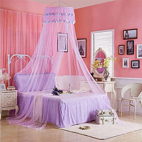 SANNA Mosquitero universal con forma de cúpula, para cama de princesa, elegante encaje, decorativo para el hogar y viajes para camas individuales y matrimoniales, tamaño Queen y cuna