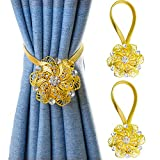 Mikomer 2PCS Magnetic Curtain Tiebacks Vintage Crystal Flower Shape Window Curtain Holdback Buckles Tie Backs Holders with Stretchable Wire Rope for Home and Office Decoration,Golden
