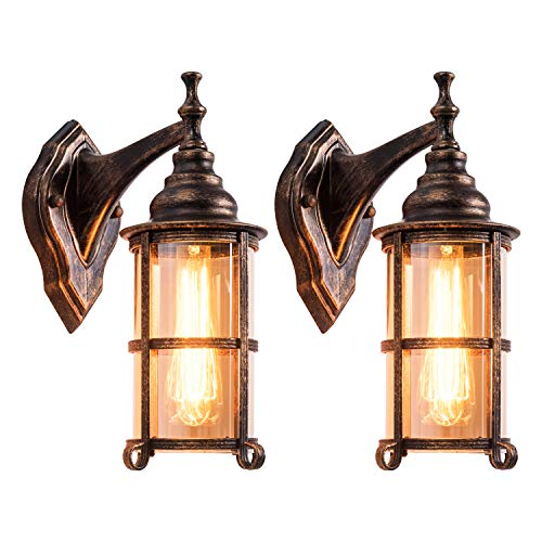 Rustic Outdoor Wall Light, Golden Bronze Exterior Wall Sconces Fixture with Amber Glass Shade, Industrial Lantern Porch Lighting Waterproof Retro Farmhouse Lamp for Indoor Bedroom Living Room Pack-2