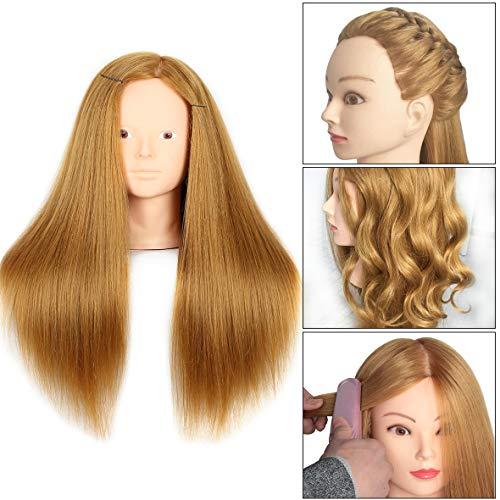 20 Inch Mannequin Head 60% Human Hair Styling Training Head Manikin Cosmetology Head Hair Hairdressing training Face Makeup Practice head 27#