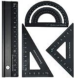 Escala Regla Metalica Juego 15cm - Rodmaie juego de reglas escolar técnico de 4 piezas,reglas escolares herramienta de geometría matemática,regla metalica
