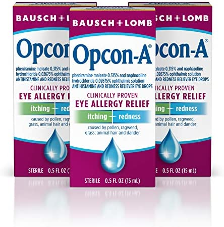 Allergy Eye Drops by Bausch & Lomb, for Itch & Redness Relief, 0.5 Fl. Oz (Pack of 3)