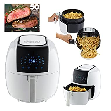 GoWISE USA GW22735 5.8-Quarts 8-in-1 Electric Air Fryer XL + 50 Recipes for your Air Fryer Book (White)