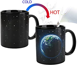 Magic Heat Changing Coffee Mug - Add Coffee or Tea and Earth Appear,Thermometer Sensitive Porcelain Tea Ceramic Coffee Funny Cup, 10 OZ