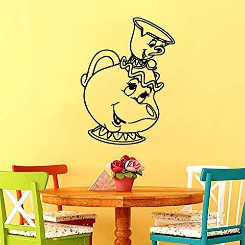 Lamubh Lindo bebé Cara Taza de té Dulce Pegatinas de Pared para cafetería Comedor Cocina decoración calcomanías de Pared decoración de Gusano Vinilo murales de Pared 71x97cm