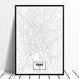 Leinwanddruck,Graz Österreich Schwarz Weiß