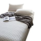 OTOB 100% Cotton Black White Plaid Sheets Children Grid Fitted Sheets Soft Single Deep Fitted Bed Sheet Twin Size (Twin, Black White)