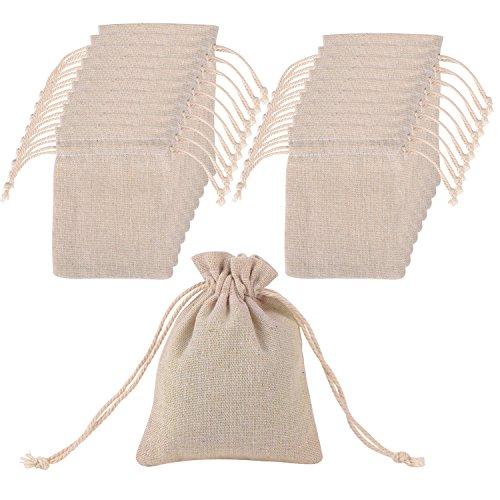081 Store 100 Sacchetti di Juta Bianchi per bomboniere Confetti Compleanni Matrimonio Stile Shabby Chic