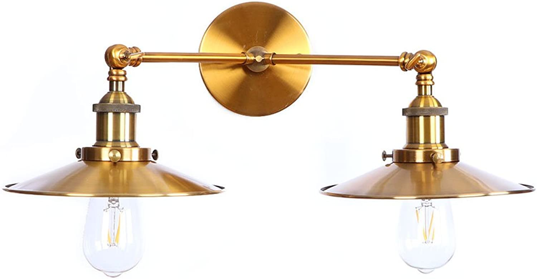 CX AMZ Doppelkopf-Wandleuchte, amerikanischer Landhausstil-Nachttischlampe,nordisches Dekorations-Lampen,kreative schmiedeeiserne Wandleuchten,E27-Sockelbefestigung-Wandleuchte einstellbar 180 Grad,B