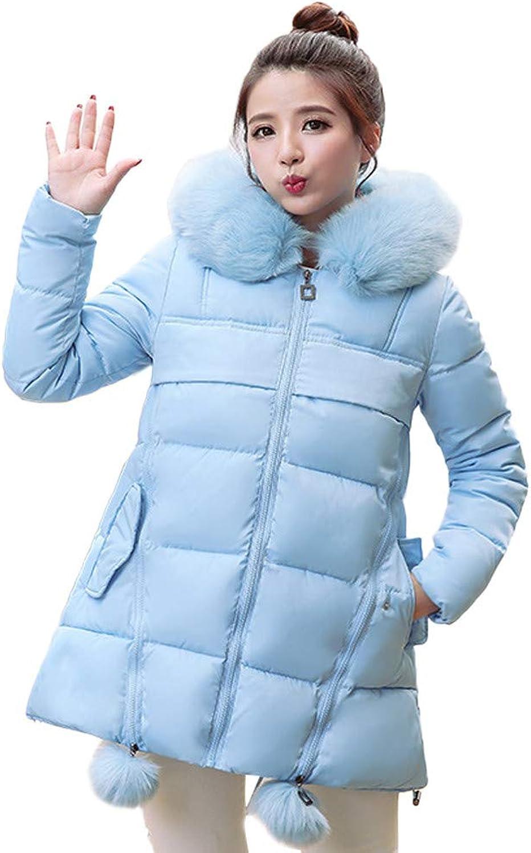 GridNN Women's Winter Fashion Long Hooded Fur Collar Solid color Warm Cotton Coat