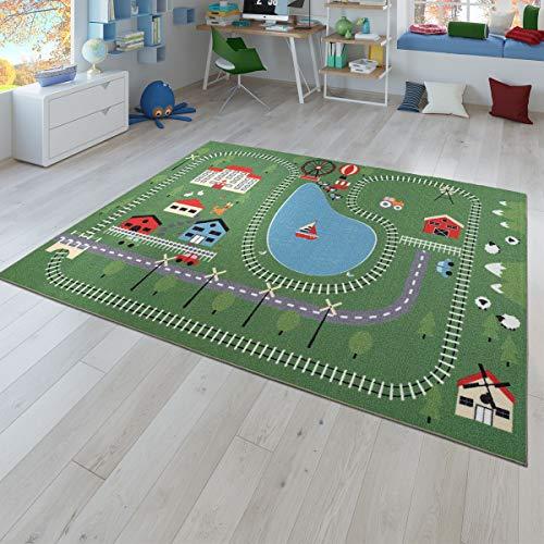 TT Home Alfombra Infantil Juego para Dormitorio Motivos Naturaleza Carriles Tren Colores, Größe:120x160 cm
